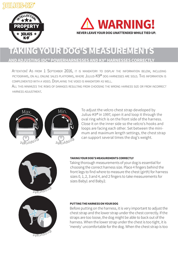 Julius-K9 Harness adjusting Guide Page 1