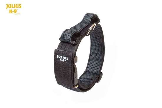 Julius-K9 Collar with closable handle,black - 40 mm