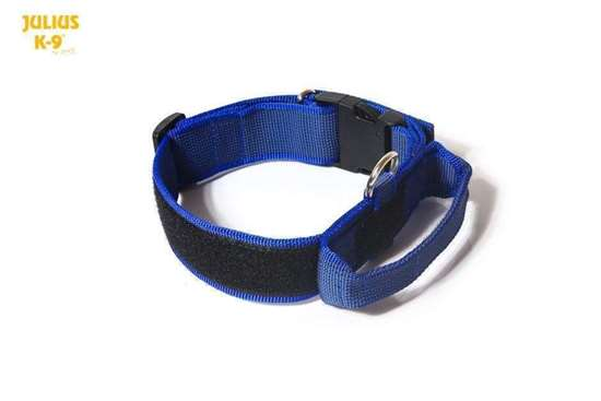Julius-K9 Collar with closable handle, blue - 40 mm