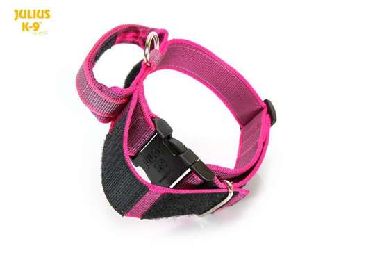 Color&Gray collar with closeable handle - pink