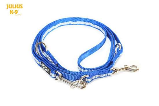 Picture of Julius-K9 IDC Tubular Webbing adjustable leash - Blue - 2.2m - With handle