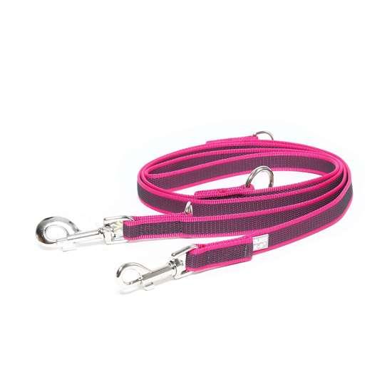 Picture of Julius-K9 Color & Gray Super Grip Double leash - 2.35 m - Pink - 20mm wide
