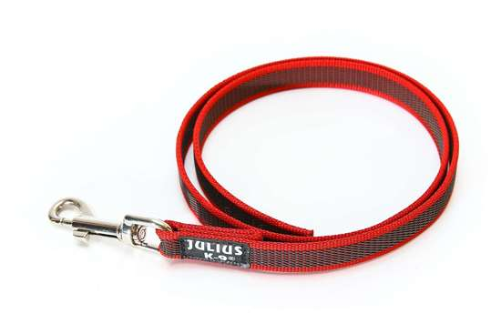 Picture of Julius-K9 Color & Gray Super Grip leash - 1 m - Without handle - Red - 20mm wide