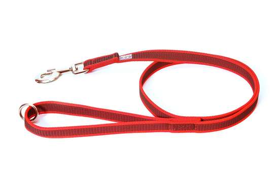 Picture of Julius-K9 Color & Gray Super Grip leash - 1.2 m - With handle and O-ring - Red - 20mm wide